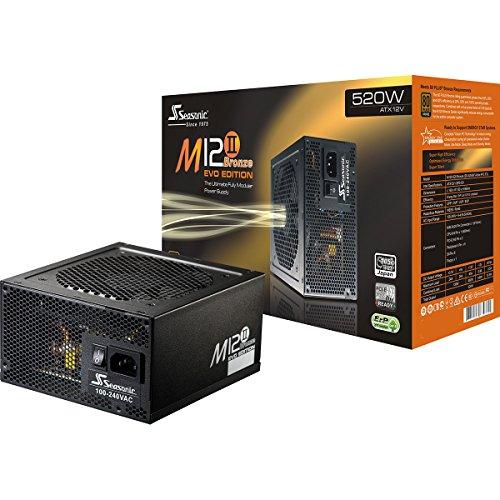 Seasonic M12II EVO (80 + brons, ATX 12 V) voeding voor computer gaming PC 520 watt. 520W zwart