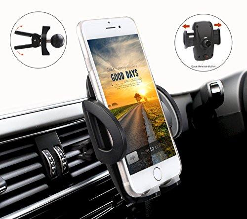 Ulinek Handy Halterung Universal Halterung 360 Grad drehbar Auto Halterung, Phone 7 7 Plus 6 6 Plus 6s 6s Plus SE 5 5s 5c 4 4s und die meisten Android Smartphone (schwarz)