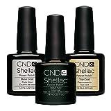 CND Shellac Black Pool plus Base Coat plus Top Coat, Esmalte de gel de uñas - 22 ml.