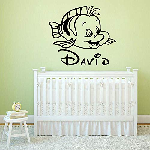 Mermaid wall decals personalized custom name kids bedroom fashion home decoration 85X96cm
