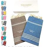 SOLTAKO XXL 2X Fouta Strandtuch Handtuch Saunatuch Badetuch Hamamtuch Yoga Decke Pestemal in Taupe & Jeansblau Farben als 2er Geschenkset extra groß, 100 x 200 cm