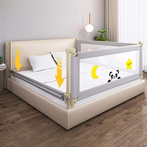 """Toddlers Baby Bed Rail, 24-Gear Adjustment Long Bed Guardrail, Vertical Lifting Bed Rails for Toddlers, Bed Safety Rail Guard Bedrail for Kids Twin, Double, Queen & King Size (71""""-1 Side Only)"""