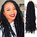 Youngther 18 inch New Faux Locs Crochet Hair Curly 6 Packs New Soft Locs Crochet Hair for Black Women Pre Looped Synthetic Goddess Locs Braiding Hair (18inch 6packs,1B#)