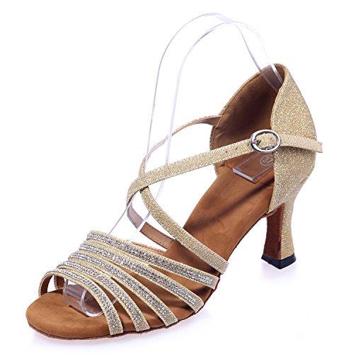 Frauen Tanzschuhe Peep Toe Buckle Dancing Jazz Ballroom Abend Social für Sandalen Modern Ankle / 17P 8349-21A, Gold, 34