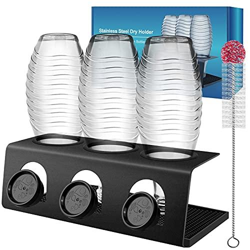 DIGIROOT Flaschenhalter für Sodastream aus Edelstahl - 3er Abtropfhalter für SodaStream Crystal 2.0 und Duo Flaschen Abtropfgestell Sodastream Abtropfbehälter mit Flaschenbürste und Abtropfmatte
