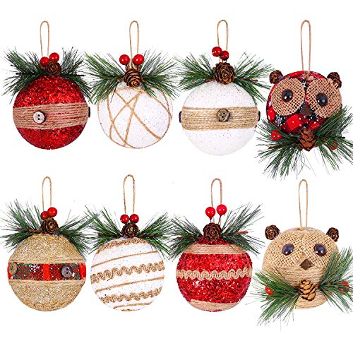 Aneco 8 Pack Christmas Tree Ornaments Rustic Christmas Tree Ball Ornaments with Pinecones and Berries Christmas Hanging Decorations for Christmas Decorations Supplies (Color 1, 8)