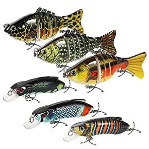 WEWAK Fishing Lures for Bass Trout Multi Jointed Swimbaits Slow Sinking Lifelike Artificial Saltwater Freshwater Hard Bait Fishing Tackle Kits for Catfish Pike Muskie