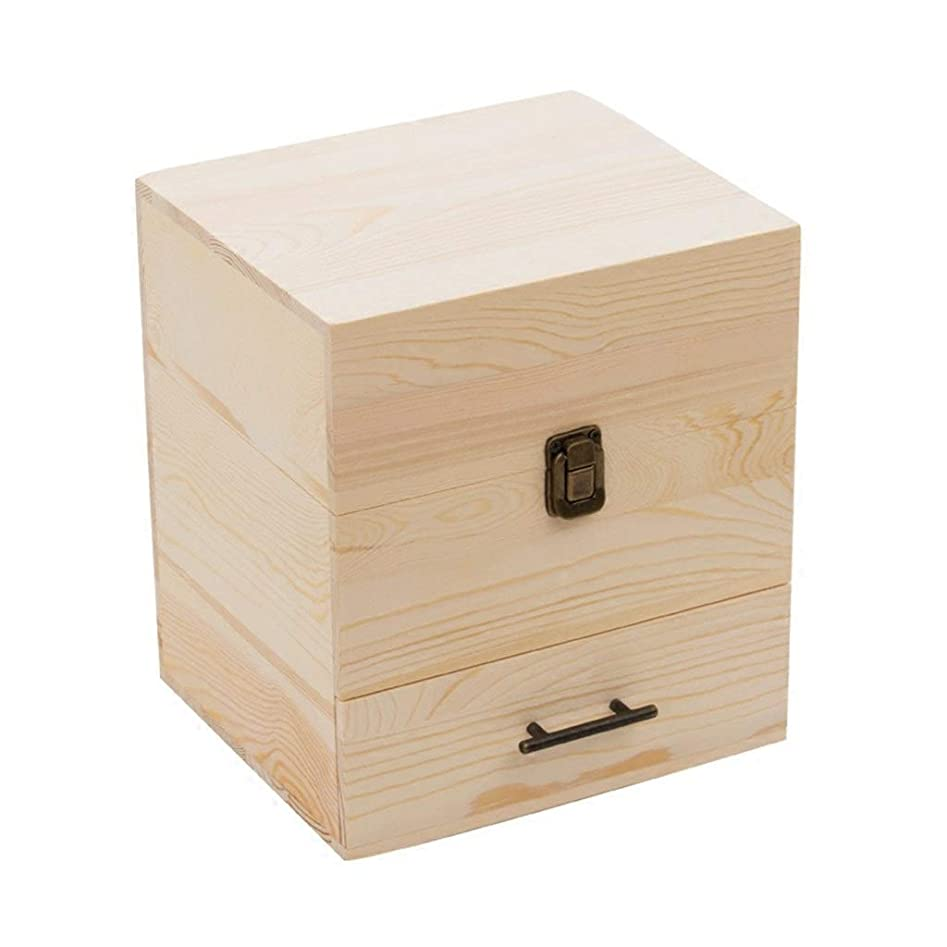 封筒カレンダー慣れるエッセンシャルオイル収納ボックスハイグレード三層精油ボックスソリッドオイルオイルフレーム59グリッドオイルディスプレイボックス (Color : Wood color, Size : 22.9*19*24.3cm)