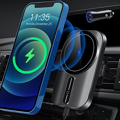 Cargador de coche magnético inalámbrico (con adaptador QC3.O) WAITIEE cargador de coche para iPhone 12/12Mini /12pro/12 Pro Max Air Vent Phone Holder 360° Ajustable Auto Alineamiento Cargador de coche de carga rápida