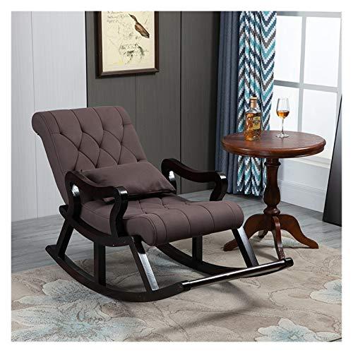 Silla mecedora de madera sólida de estilo chino, silla cómoda de tela de tela de tela, balcón sillón de sofá reclinador, con reposapiés 125x67x89cm ( Color : Brown , Size : Without footstool )
