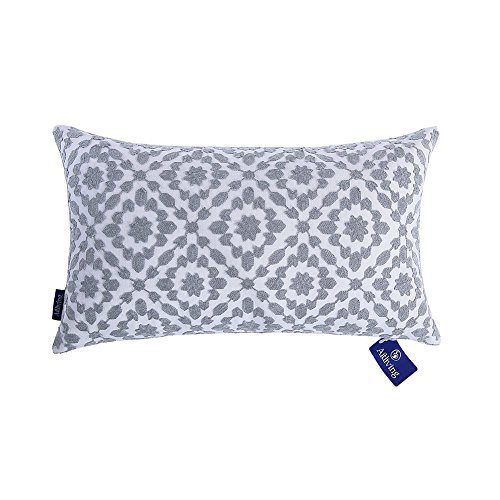 Aitliving Cushion Covers 12 x 20 inch Trellis Patterned Cushion Cover for Sofa 1 pc 30 x 50 cm Mina Embroidered Silver Grey Bolster Pillow Cushions Cover