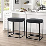 ALPHA HOME 30' Bar Stool Counter Height Bar Stools with Footrest Pu Leather Backless Kitchen Dining Cafe Chair with Thick Cushion & Sturdy Chromed Metal Steel Frame Base for Indoor Outdoor,Black,2PC