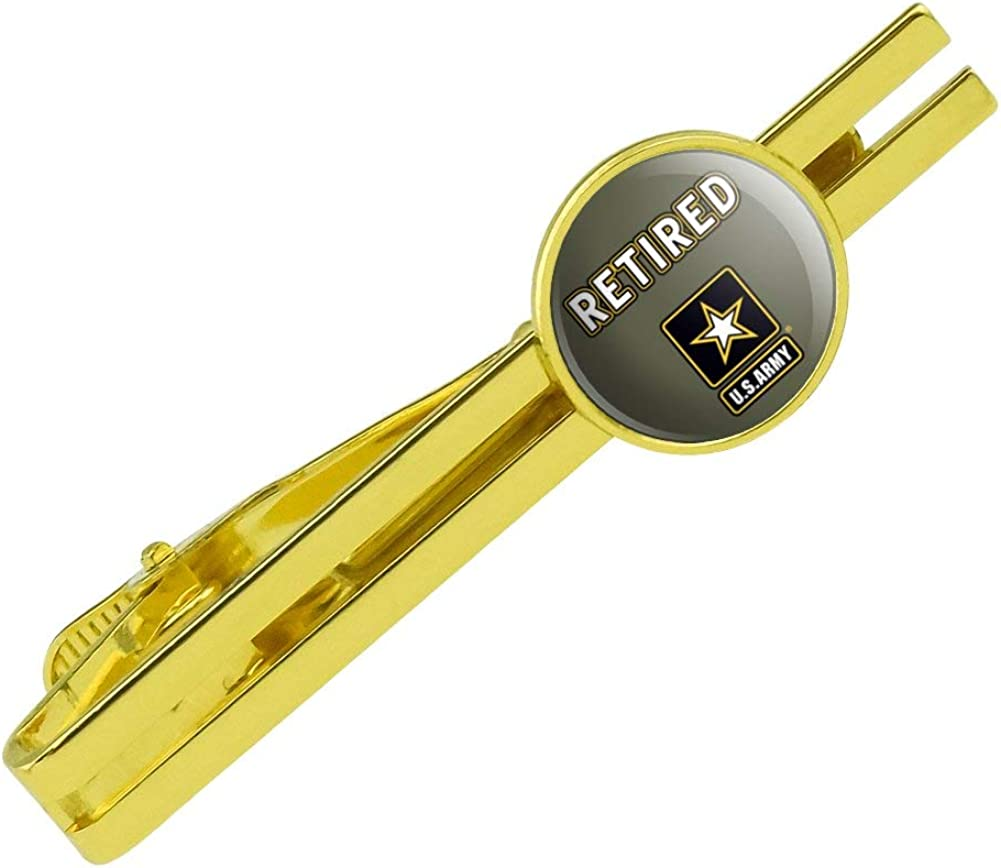 GRAPHICS & MORE U.S. Army Retired Logo Round Tie Bar Clip Clasp Tack Gold Color Plated