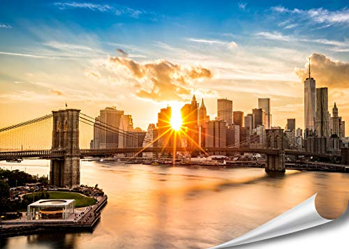 XXL Poster New York Skyline Brooklyn Bridge 140cm x 100cm HD XXL Bild Wand-bild | Fotoposter Manhattan bei Sonnenuntergang downtown east river USA Deko |