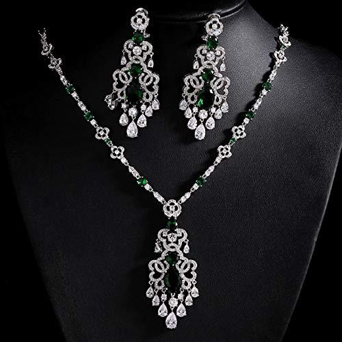 Jskdzfy Cz Color Fashion Wedding Jewelry Sets Pendientes Nupciales Collar Conjuntos para Mujeres (Color : Blue)