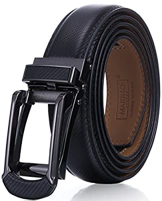 "Marino Men's Genuine Leather Ratchet Dress Belt with Open Linxx Buckle, Enclosed in an Elegant Gift Box - Black - Style 156 - Adjustable from 28"" to 44"" Waist by"