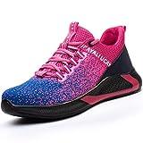 UCAYALI Zapatillas de Seguridad Mujer Zapatos de Trabajo Hombre Calzado de Seguridad con Punta de Acero Zapatos Protección Cómodo Rosa roja Gr.39