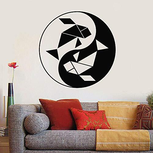 Estilo asiático pegatinas de pared geométrico pez pequeño yin yin yang zen vinil calcomanía decoración de pared sala de estar sofá fondo de pared-84x84cm