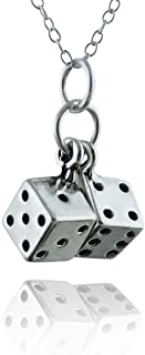 FashionJunkie4Life Sterling Silver Tiny 3D Pair of Dice Charm Necklace, 18
