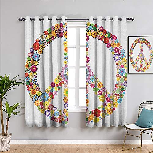 Pcglvie groovy Cortinas de bloqueo de luz para sala de estar, cortinas de 213,4 cm de largo con signo de paz floral, verano, primavera, flores, amor, felicidad, ilustración, estampado, multicolor