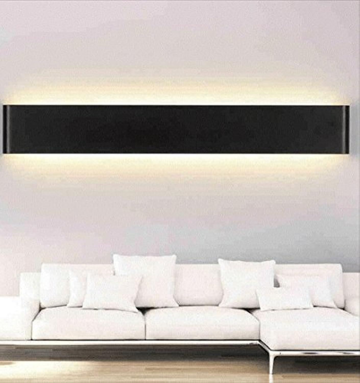Moderne einfache LED-Aluminium-Wandleuchte Nachttischlampen Wohnzimmer Schlafzimmer Gang kreative Wand Lampe Bad Spiegel Frontlicht (Farbe   Warmwei-schwarz-14w51cm)