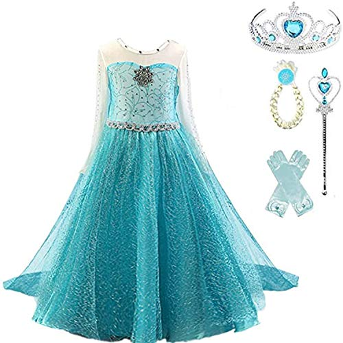 TTYAOVO Filles Robe de Fête d'anniversaire, Filles Princesse Robe à Manches Longues Taille(140) 6-7 Ans 5 Pièces Bleu 04