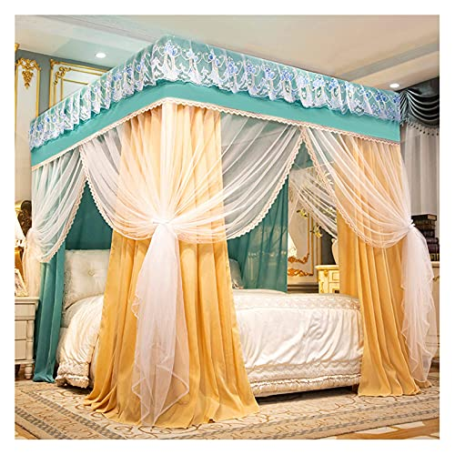 4 Corner Canopy Bed Curtains Fabric Indoor Bed Tent for Girls Shading Anti Mosquito 3 Openings Bedroom Decoration(Size:for 2m/6.6 feet Bed)