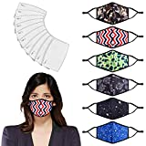 6 protezioni per il viso stampate alla moda con filtri (30 pezzi) lavabili e riutilizzabili per anti-polvere, attività all'aria aperta.