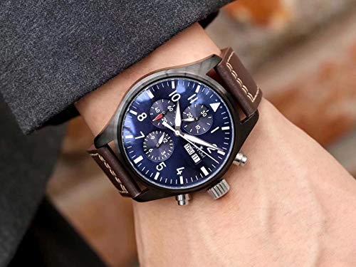 HHBB Marca de lujo hombres automático mecánico zafiro doble marrón cuero azul reloj negro caso Aaa+, Marrón Azul