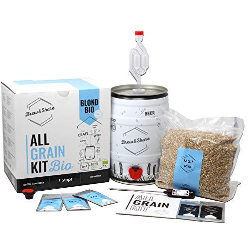 Brew & Share | Kit de bière Blond Bio. Certificat ecologique | Votre bière en 2 semaines. Élaboration avec des malts. Fermentation en fût. Matériaux réutilisables.