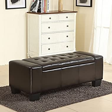 Belleze 51 -inch Storage Ottoman Bench Faux Leather Rectangular Tufted Large, Brown