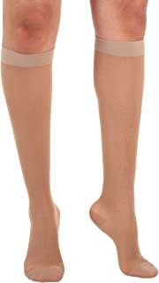 Absolute Support Women's Compression Stockings - Sheer Knee High, 15-20 mmHg Medium Graduated Support - Medium Natural