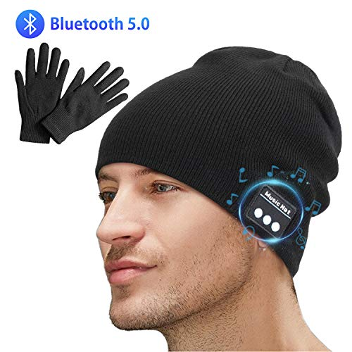 Miserwe Bluetooth Beanie V5.0 Bluetooth Hat Wireless Bluetooth Knit...