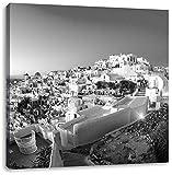 Pixxprint Oia Dorf Santorin als Leinwandbild Quadratisch|