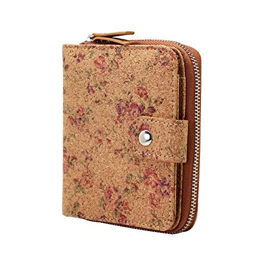 Boshiho, portafoglio in sughero vegano, da donna, con blocco RFID, piccolo design con cerniera e scomparti per carte di credito, portamonete, ecologico, regalo vegano