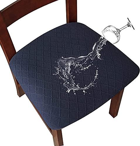 SHENGYIJING Fundas de asiento para silla de comedor, impermeables, para sillas de comedor, cubiertas de sillas de comedor, cubiertas de sillas de cocina, fundas con hebilla (6, azul marino)