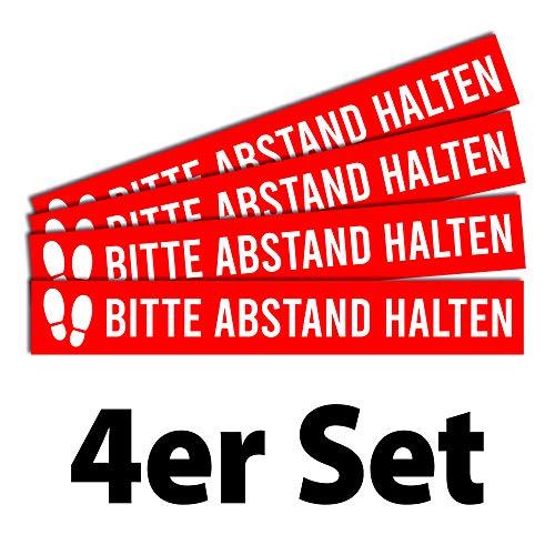 4 Fußbodenaufkleber Abstand halten | 80x12cm | stabile Folie mit UV-Schutz | Schutzlaminat Rutschhemmung R11 nach DIN 51130 | 4er Set | Bitte Abstand halten rot | Dreifke®