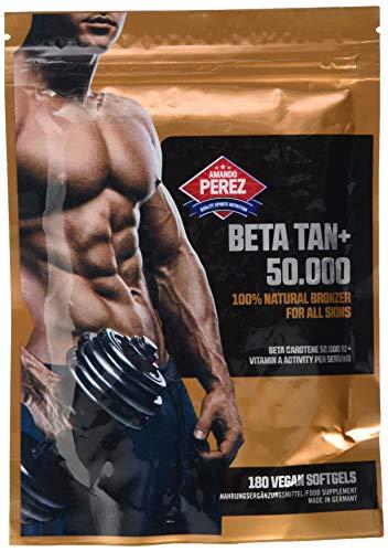 BETA TAN+ / 50.000 IE Beta Carotin - 180 vegane Softgels - 100% natural bronzer for all skins