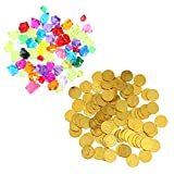 NUOBESTY Pirate Toys Funny Gold Coin Treasure Creative Pirates Gems Gifts Educational Toy Playset for Kids Children 1set(100 Gemstones+20 S Gold Coins)
