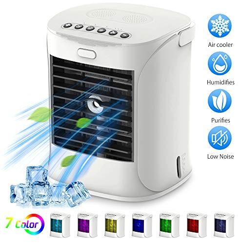 Mini Refrigeratore portatile USB condizionatore con 4 in 1 Ventilatore purificatore Umidificatore Luci Notturne di 7 colori, 3 velocità regolabile e grande capacità di 480 ml per casa ufficio