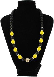 Collana preziosa con pietre dure naturali Onice nero opaco e cristallo di rocca color giallo con distanziatori in acciaio ...
