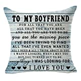 Bnitoam Quote Best Gift to My Boyfriend Wood I Love You Cotton Linen Square Decorative Throw Pillow Covers Case Cushion Cover for Bed Couch Outdoor Family Sofa 18 x 18 inch (blue2)