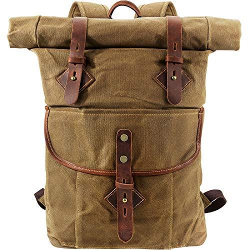 BAWADE Rucksack Herren und Damen Wanderrucksack Laptop Rucksäcke, Rolltop Rucksack Canvas Backpack, Gewachster Vintage Groß Wasserdicht Rucksack für Outdoor