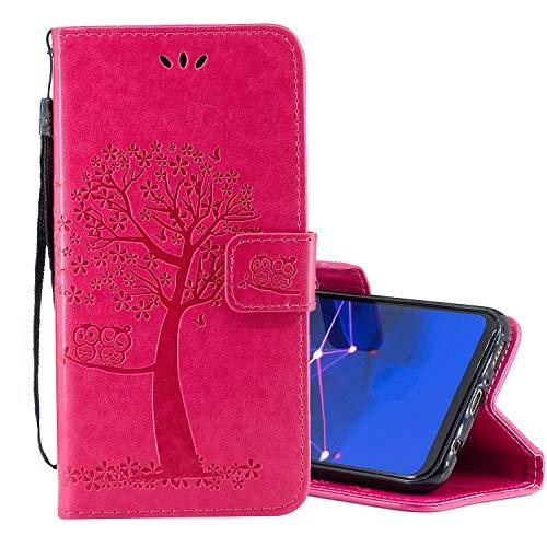Nadoli Flip Handyhülle für Huawei Y6 2019,Schutzhülle Pu Leder Lustig Geprägt Baum Eule Magnetverschluss Wallet Brieftasche Lederhülle Etui mit Standfunktion für Huawei Y6 2019