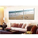 wcylj 3 Paneles Wall Art Pictures Romantic Beach Lovely Stone Seascape Painting On Canvas Modern Drawing Living Room Decoration Sin marco-50x90cm
