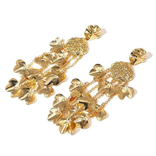 Vvff Pendientes De Declaración De Metal Pendientes Largos Geométricos De Flores De Color Dorado Para Mujer Pendiente Colgante Joyería