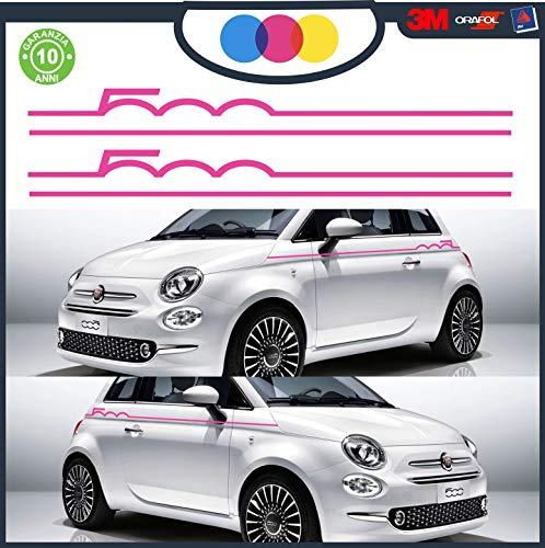 Juego de bandas adhesivas para Fiat 500 Abarth Tuning – Accesorios Stickers Decal – Pegatinas laterales Sport Stripes adhesivo lateral para 500 Turbo Abarth Tuning – Ambete las laterales Magenta