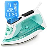 BEAUTURAL Steam Iron with LCD Display, 11 Preset Temperature and Steam Settings for Variable Clothes Fabric, Ceramic Coated Soleplate, 3-Way Auto-Off, 1800-Watt