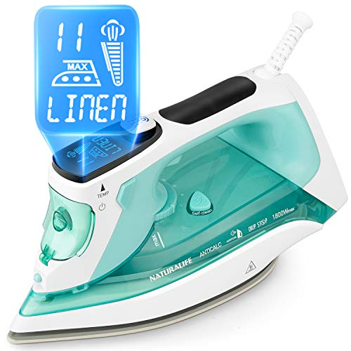 NATURALIFE Steam Iron with LCD Display, 11 Preset Temperature and Steam Settings for Variable Clothes Fabric, Ceramic Coated Soleplate, 3-Way Auto-Off, 1800-Watt
