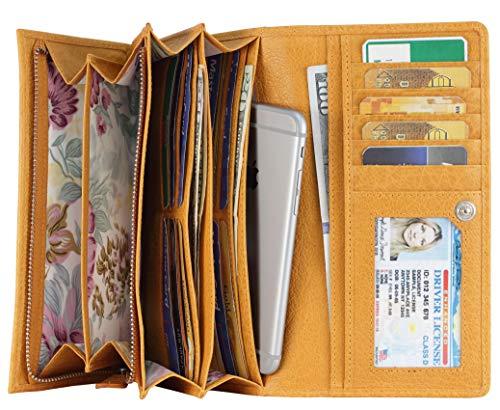 Mou Meraki Las mujeres RFID bloquean las carteras de cuero real para las mujeres-escudo contra el robo de identidad (amarillo claro)